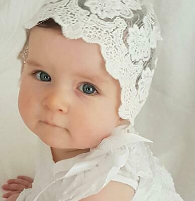 Baby Shower Girls Christening bonnet Gorgeous Vintage Lace Bonnet Photo Props