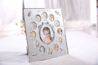 First Year Baby Photo Frame Silver Plated 12 Months Keepsake Picture Photo Frame