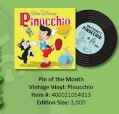 Disney Parks Pin Of The Month pinocchio Vintage Vinyl LE 3000 Pre Sale 3/7