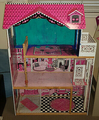 KIDS Wooden Doll House - Girls Large Timber Toy Pretend Play Dollhouse