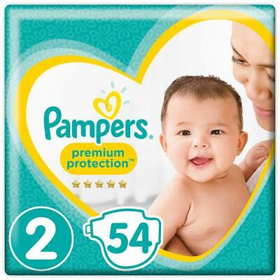 Pampers Premium Protection Size 2 Newborn 4-8kg 54 Nappies Unique Absorb Away