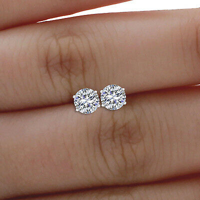 Forever One 2 ct Round Cut Diamond Real 14k White Gold Screw-back Stud Earrings