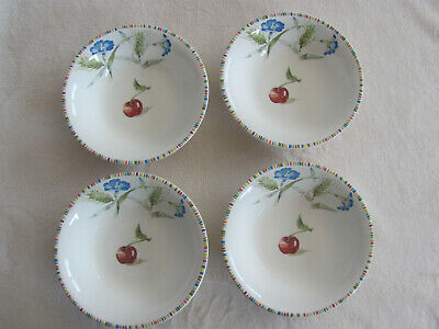 Gien China France-Cherry-Fruit,Flowers & Wheat- Set of 4 Cereal Bowls