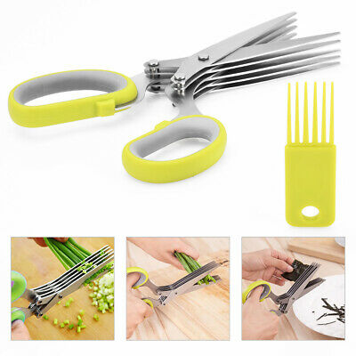 Multi-functional Stainless Steel Kitchen Knives 5 Layers Scissors Sushi Shredded