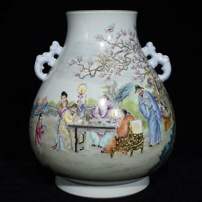 Chinese Exquisite Handmade colorful ancient figure porcelain vase