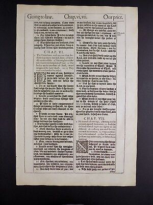1611 KING JAMES BIBLE LEAF PAGE *BOOK OF 1st COR.5:11-7:35 * OF MARRIAGE * NF