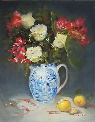 """Original Oil Painting Still Life Realism Rose in Blue White Vase 11x14"""" Signed"""