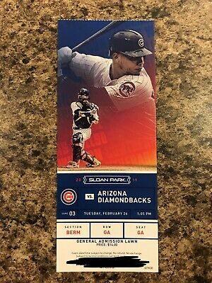 Chicago Cubs Vs Arizona Diamondbacks 2019 Spring Training Ticket Stub Contreras