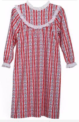 Lanz of Salzburg RED HEARTS Tyrolean Flannel Lace Nightgown girls XS 4 5  NEW NWT 54c3df91c