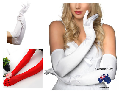 Ladies Long Satin Gloves Opera Costume Bridal Party Prom Wedding Womens
