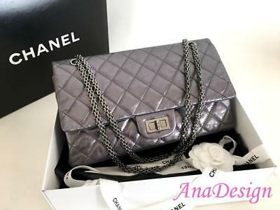 c375051187f Authentic Chanel Classic 2.55 Reissue 227 Dark Silver Grey Double Flap Bag  SHW