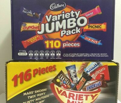 226 pcs: Mars 116 VARIETY MIX+ Cadbury 110 VALUE JUMBO Pack Chocolate Wholesale