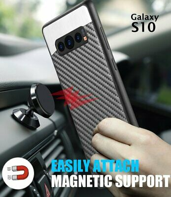 For Samsung Galaxy S10 - Magnetic Backplate BLACK Carbon Fiber Rubber Case Cover