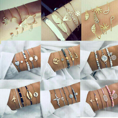 Fashion Women Jewelry Set Rope Natural Stone Beaded Chain Alloy Bracelets Gifts