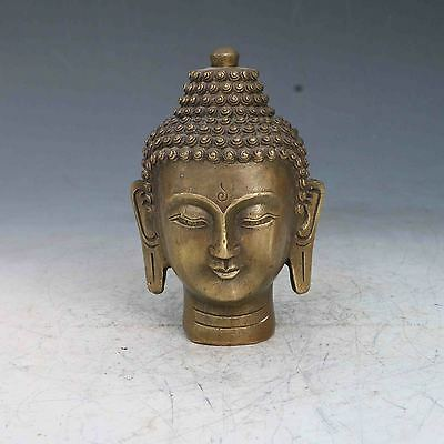 Exquisite Old CHINESE BRONZE HAND CARVED BUDDHA HEAD STATUES  YR