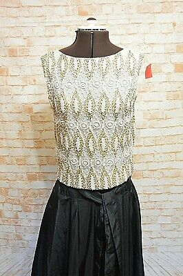 A955Vintage Delicately Hand Beaded Silk Wool Evening Wear Size M 50S 60S 70S