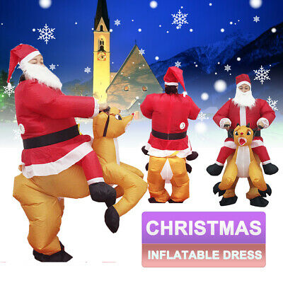 AU Christmas Inflatable Santa Father Jumpsuit Blow Up Dress Suit Costume Gift