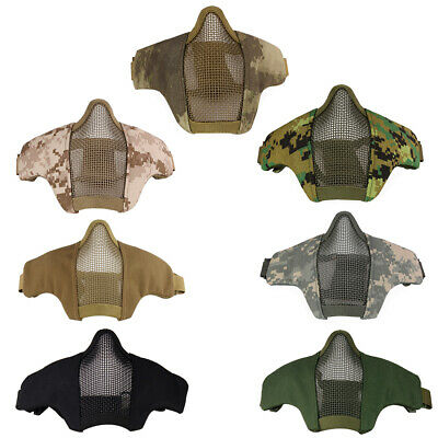 Tactical Airsoft Paintball Metal Mesh Mask Half Face Guard Protection Skull Game