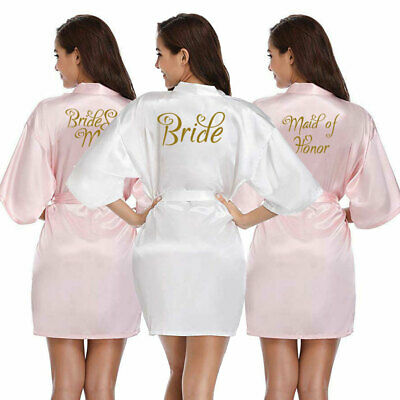 Women Heart Bride Satin Silk Robe Wedding Maid Of Honor Bridesmaid Gown Dressing