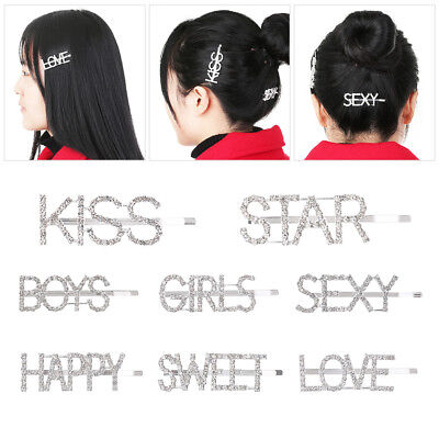 Women Girls Crystal Rhinestone Words Hairpin Hair Barrette Hair Clips Headwear