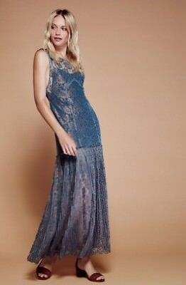 f42c36c7c94a4 New $350 Free People Harlow Lace Green Gold Embellished Maxi Dress Size Xs