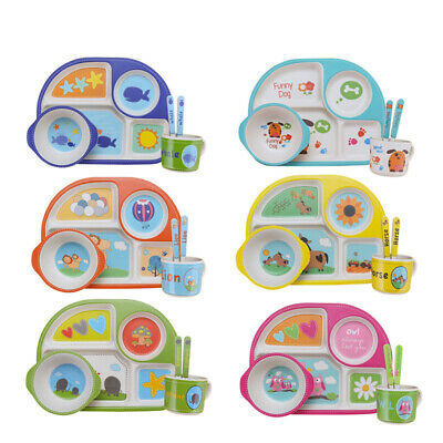 5-Piece Dinner Kids Baby Dinnerware Plates Set Eco-Friendly Bamboo Fiber
