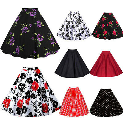 Womens Vintage Retro 50s Rockabilly Jive A Line Swing Skirt Party Mini Dress