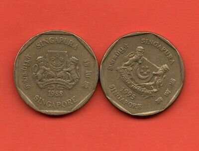 1988 & 1995 One Dollar SINGAPORE Coins