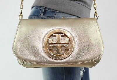 19eec2afc1e1 TORY BURCH Small Gold Leather Shoulder Hobo Tote Satchel Cross Body Purse  Bag