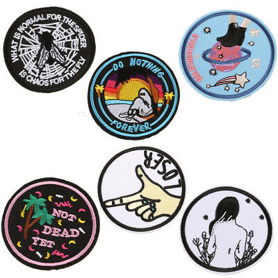 Cartoon Embroidered Patches Round Fabric Stickers Iron on Cap Shirts Bags Hoodie