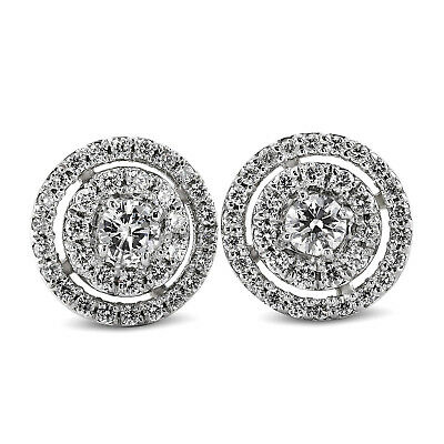 925 Sterling Silver 1.0ct Halo Diamond Bridal Stud Earrings Round Shape Ear Stud