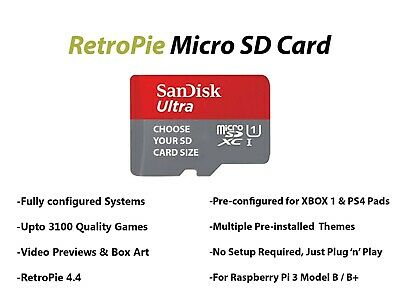 RetroPie Micro SD Card 32GB 64GB 128GB & 200GB - For Raspberry PI 3 Model B/ B+
