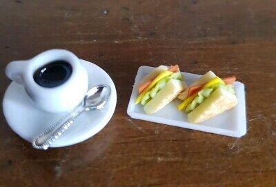 Miniature dolls house accessories Coffee and Ham & Salad Sandwiches 1:12 scale