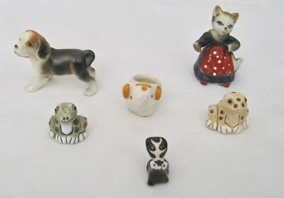 VINTAGE LOT 6 Miniature Porcelain Animal Figurines Dog Cat