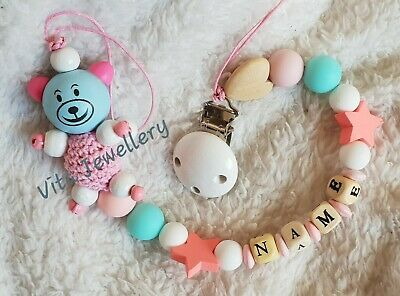 Personalised baby Wooden Dummy Clip boys and girls gift