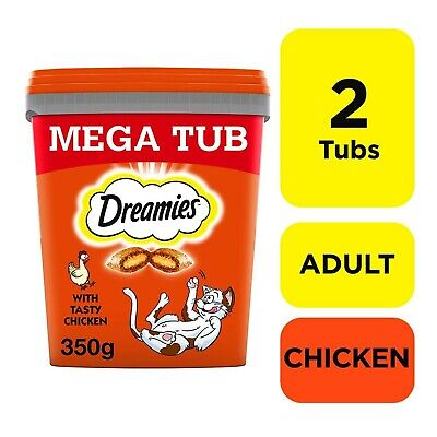Dreamies Adult Cat Treats with Chicken 700g Cat Biscuit (2x350g Tub)