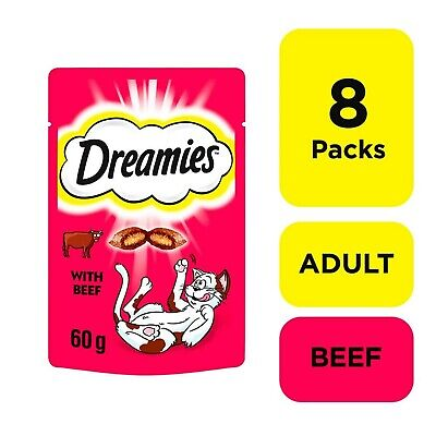 8 x 60g Dreamies Adult 1+ Cat Treats with Beef Cat Biscuits (480g)