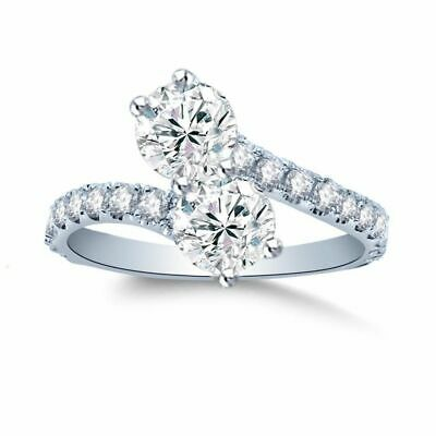 1CT Forever Us Two Stone Engagement Diamond Solitaire Ring 14K Yellow Gold Over