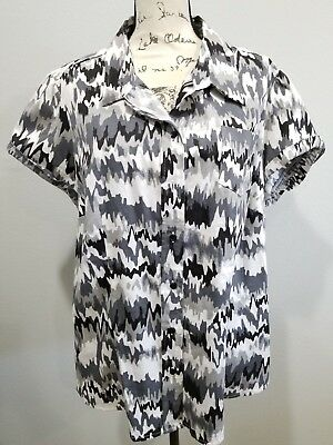 Womens Cato 18/20 Black, Gray, White Button Down Short Sleeve Cotton Stretch Top