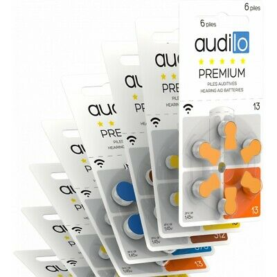 Piles auditives Audilo Premium (Taille 675, 312, 10, 13) - Un lot de 60 piles au