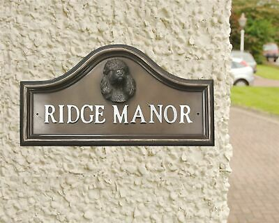 Bronze Finish Poodle Arched House Name Sign