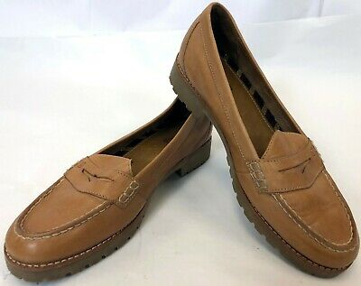 6883208b8a614b Womens SPERRY Seaport Tan Leather Penny Loafer Boat Shoes Flats Size 9.5 M