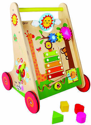 Classic World - Toddler Wooden Learning Walker - Interactive - Multi-Coloured
