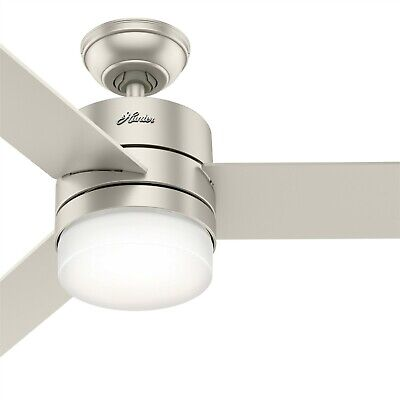 Hunter Fan 54 inch Matte Nickel Ceiling Fan with LED Lights and Remote Control