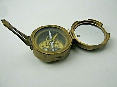 Antique STANLEY of LONDON Brass NAUTICAL COMPASS 'Natural Sine' INDIA