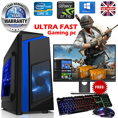 Gaming PC Computer Bundle Quad Core i5 16GB RAM 1TB Windows 10 2GB GT710 WiFi