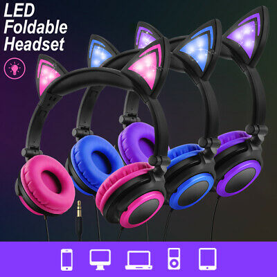 Wired Foldable Cat Ear Headphones On-Ear Headsets W/ LED Glowing Light for kids