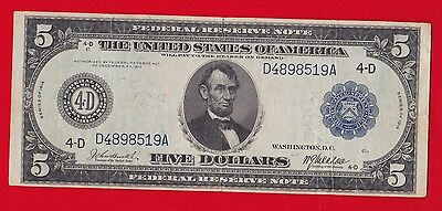 1914 $5 Federal Reserve Note Cleveland Burke- Mcadoo Vf.