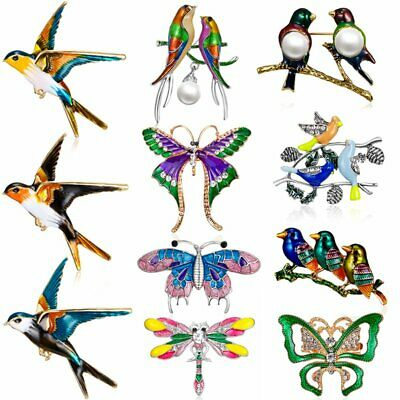 Fashion Birds Crystal Animal Dragonfly Butterfly Brooch Pin Necklace Women Gift