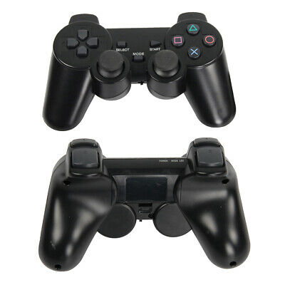 1Pair Black Twin Shock Wireless Shock Game Controller for Sony PS2 Playstation 2